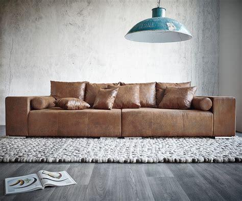 Big-sofa Marbeya 285x115 Cm Braun Mit Hocker Antik Optik