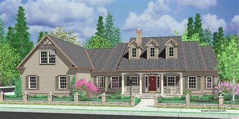 house front color elevation view   colonial house plans dormers bonus room  garage