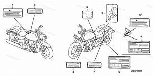 Honda Motorcycle 2005 Oem Parts Diagram For Labels