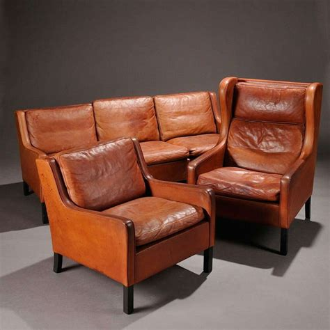 leather sofa club chair and wing chair by borge mogensen