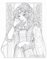 Coloring Adulte Adults Coloriage Lineart Fairy Princess Royalty Adult Volwassenen Elfes Meadowhaven Diana Voor Elven Colouring Anges Kleuren Dessin Colorier sketch template