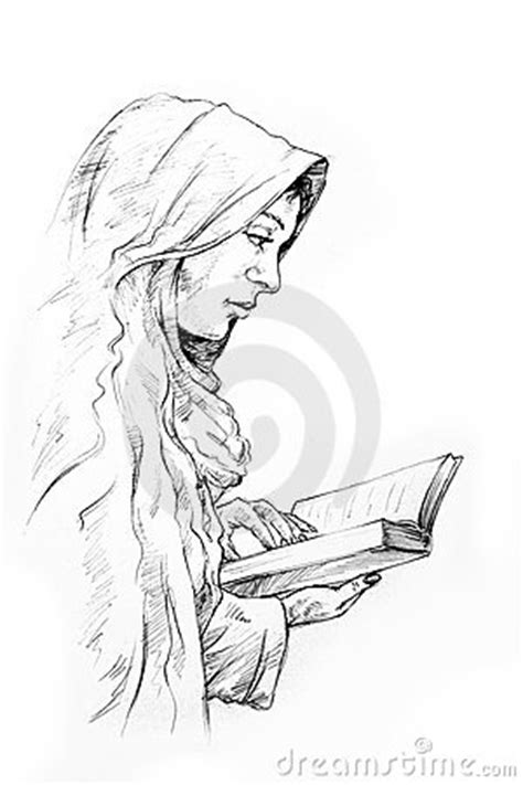 Hand-drawn Sketch Of A Girl Reading Stock Image - Image
