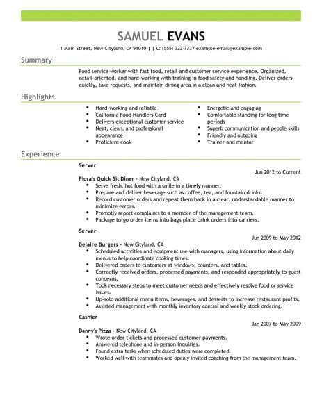 Fast Food Resume by Best Fast Food Server Resume Exle Livecareer