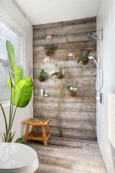 wood plank tile shower  living orchids wall hgtv