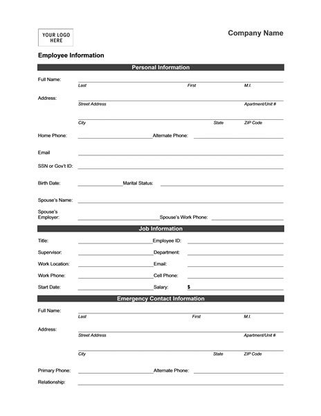 16079 employee information form employee information form templates mbo