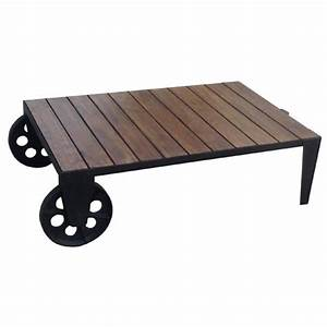 acacia wood industrial style coffee table on 2 big wheels With industrial style coffee table with wheels