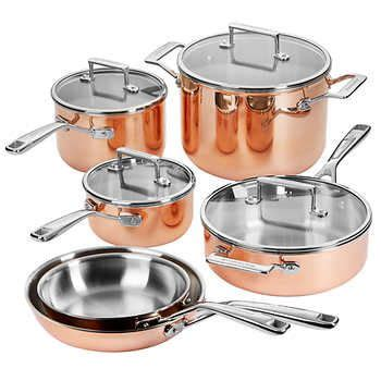 kitchenaid  piece  ply copper cookware set copper cookware set copper cookware cookware set