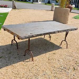 Table De Jardin En Fer : table de jardin en schiste et fer forg bca mat riaux anciens ~ Teatrodelosmanantiales.com Idées de Décoration