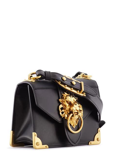 prada cahier lion head leather bag  black lyst