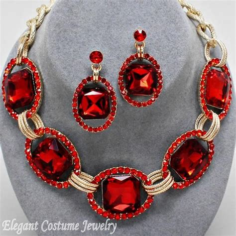 Ruby Red Gold Chunky Crystal Statement Necklace Set