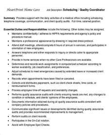 wellness coordinator description scheduling coordinator description sle 8 exles in word pdf