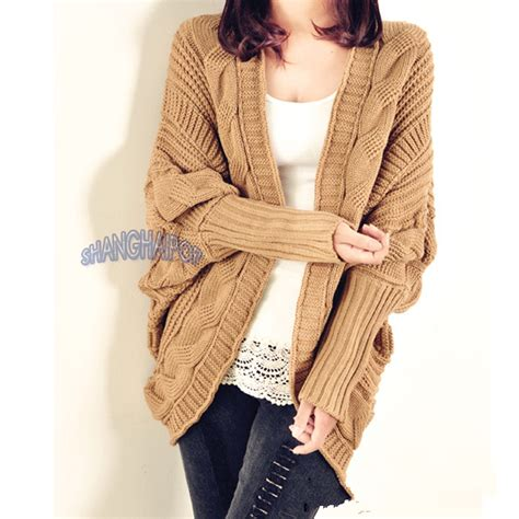 chunky womens sweaters cable knit cardigan chunky open cape batwing