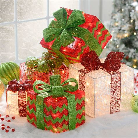 where to decorate with pre lit gift boxes for christmas