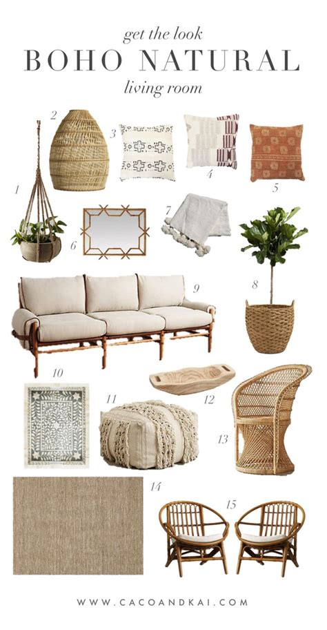 boho neutral living room moodboard
