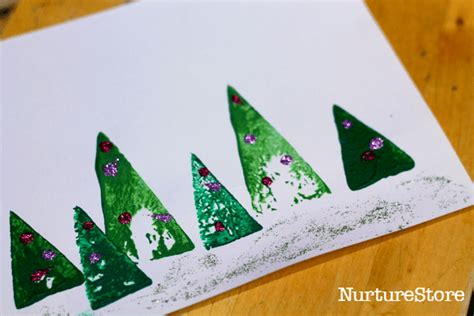 card crafts nurturestore 670 | Christmas tree card preschool