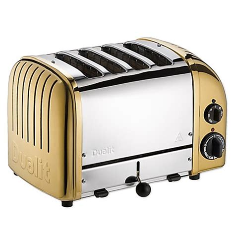 dualit 4 slice toaster dualit 174 newgen 4 slice toaster in brass bed bath beyond