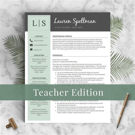 creative teacher resume template  word pages mac