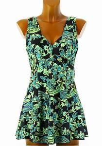 maillot de bain 1 piece robe jupette fleurs dalhia With robe de bain grande taille