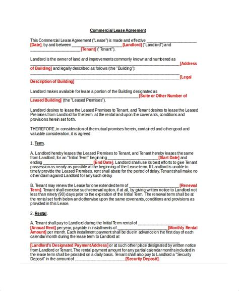 basic lease agreement examples word