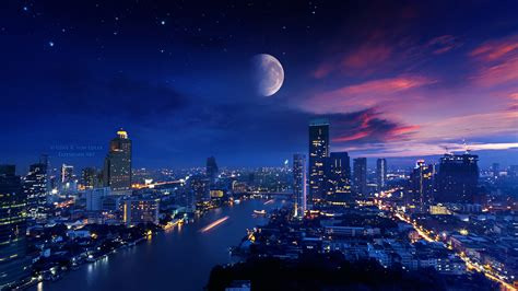 city lights moon vibrant  hd photography  wallpapers