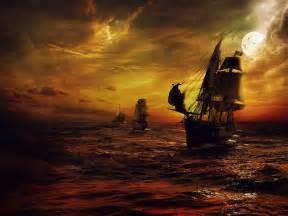 pirate ship night sailing sea night moon fantasy art