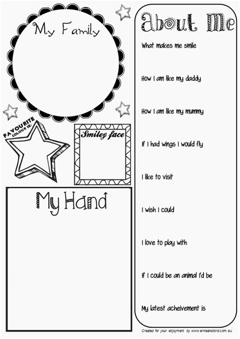 ernie amp bird by lis o brien all about me activity sheet 171 | AllAboutMe2