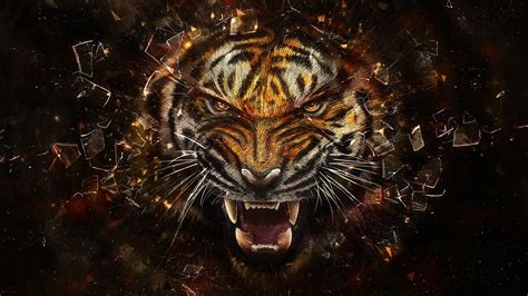Digital Tiger Wallpaper by Abstract Tiger Animals Digital Shattered