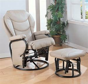 Coaster, Recliners, With, Ottomans, Glider, Rocker, With, Round, Base, Ottoman