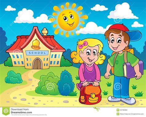 imagenes de ni 241 os yendo ala escuela dos ni 241 os acercan a la escuela ilustraci 243 n vector