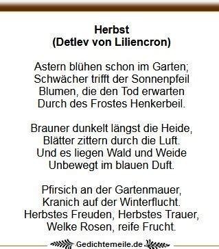 Herbst Garten Gedicht by Herbstgedichte Gedichte Zum Herbst