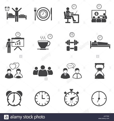 business time  daily routine icon set stock vector art