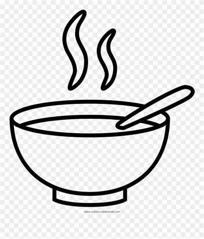 Bowl Soup Coloring Clipart Drawing Pinclipart