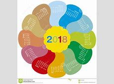 Colorful Calendar For 2018 Flower Design Stock Vector
