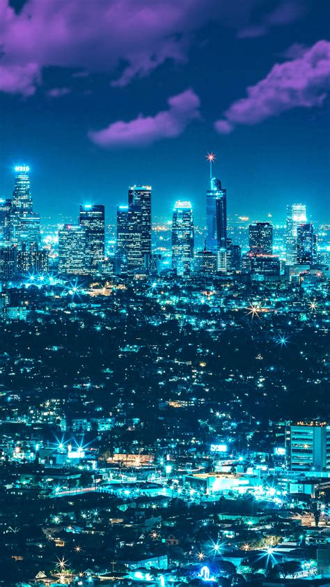 wallpaper los angeles cityscape city lights full moon
