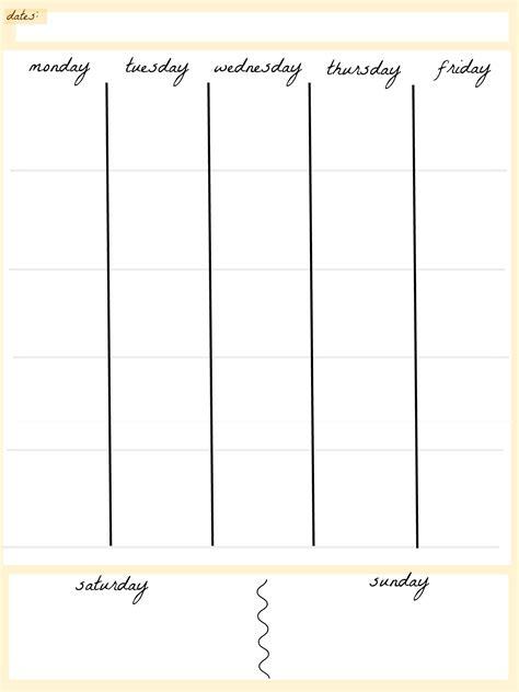 blank calendar template  day week template
