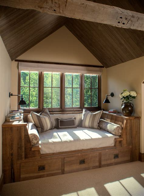 decorating ideas window nook decorating ideas family room rustic with under bed storage ribbon windows built in bed