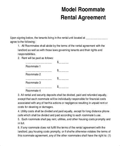 sample roommate agreement form  examples  word