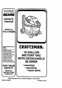 Craftsman 113170260 User Manual Wet  Dry Vac Manuals And