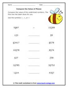grade 4 addition worksheets compare the value of places