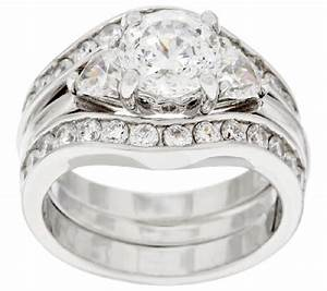 Diamonique 100 facet 2 piece bridal ring set platinum for Diamonique wedding ring sets