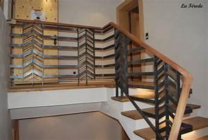 Rampe D Escalier Moderne : garde corps et rampe escalier metal bois la ferode ~ Melissatoandfro.com Idées de Décoration