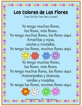 los colores colors  spanish printables poem posters