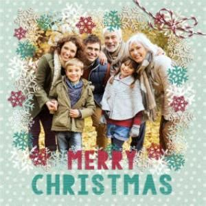 green and snowflakes personalised photo upload merry christmas card moonpig