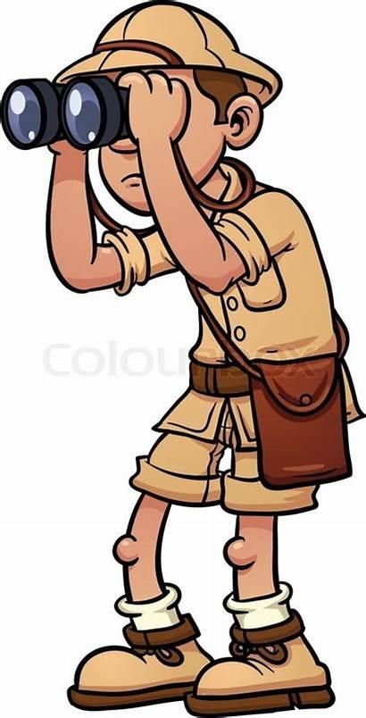 Safari Explorer Cartoon Binoculars Vector Illustration Single