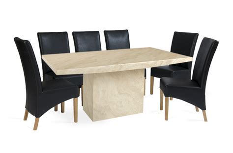 crema 220cm marble effect dining table with 10 cannes