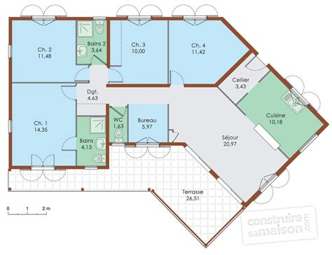 plan maison 120m2 4 chambres stunning plan maison plain pied 120m2 4 chambres with plan