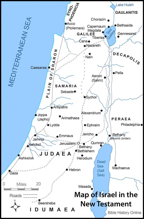 map  israel   time  jesus christ  roads