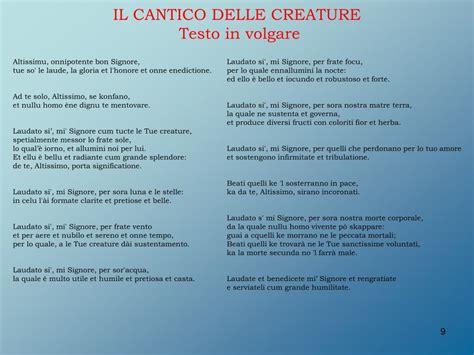 cantico delle creature testo italiano per bambini ppt il cantico delle creature di san francesco d assisi