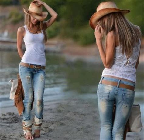 Country Girl Style Ripped Jeans Tank Top Cowboy Hat