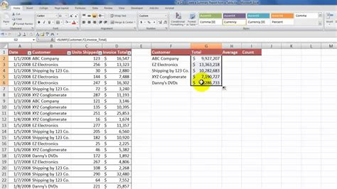 how to create a summary report from an excel table